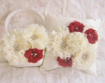 Ivory Flower Girl Basket and Pillow, Autumn Wedding Fall Wedding Cranberry and Cream Blossoms Ring Bearer Pillow