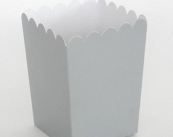 Silver Popcorn Boxes 12 ct. Treat Boxes / Favor Boxes / Candy Boxes /  Popcorn Boxes / Wedding Favors / Birthday Favors