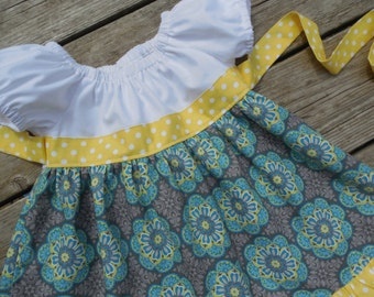 Girl's Toddlers Gray with Yellow and Teal Medallions Ruffle Peasant Dress