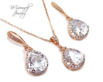 Rose Gold Bridal Earrings White Crystal Teardrop Bride Necklace Wedding Jewelry Cubic Zirconia Wedding Earrings CZ Pink Gold Bridesmaid Gift