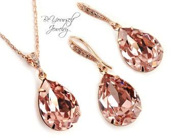 Blush Bridal Earrings Soft Pink Teardrop Bride Necklace Pastel Rose Gold Wedding Jewelry Swarovski Crystal Vintage Rose Bridesmaid Gift CZ