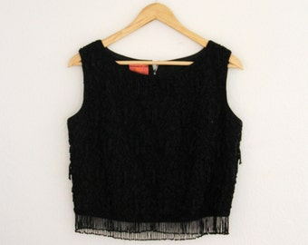 1960s Black Beaded Crop Top With Fringe And Lace Sleeveless Go Go Mod Womens Vintage Medium