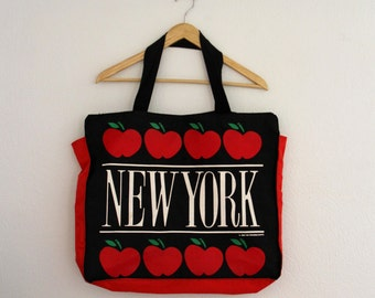 1980s New York Canvas Tote Bag Large Apples Paradies Shops Womens Vintage Travel Purse 1986