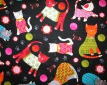 Cats Yarn Balls Mod Cat Cotton Flannel Fabric Fat Quarter or Custom Listing OOP
