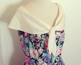 80s Floral Day Dress