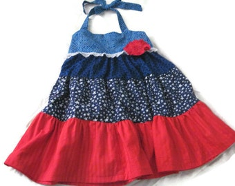 Red White Blue Ruffle Twirly Girls Dress sz.. 6  READY TO SHIP