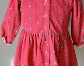 1980's Baby Girls Osh Kosh Pink Corduroy flower dress long sleeves size 3T