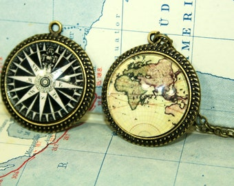 Seafaring Turn-over Necklace - Vintage Map Friendship twin sister best friend
