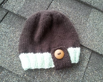 RTS Toddler Button Tab Hat, Knit Toddler Hat, Brown Beanie, Toddler Hat