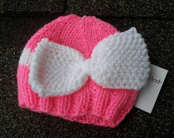 Bow Hat, baby shower gift,  photo prop, Baby Girl Hat, Knit Photo Prop