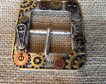 """Tinkers Gear Belt Buckle, with Moving Gears, Fits 1""""  1/2"""" inch Belts,"""