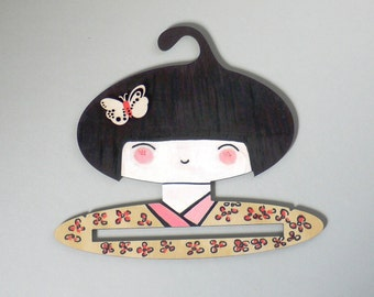 Hand painted children's clothes hanger - Kokeshi Doll Face