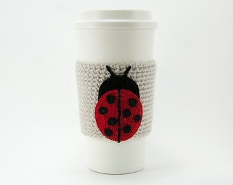 Ladybug Coffee Cozy, crocheted, red and black, natural linen cozy, pale gray sleeve