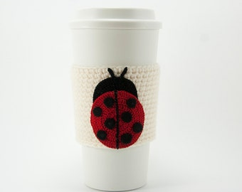 Ladybug Coffee Cozy, crocheted, red and black, natural aran cozy, off white sleeve