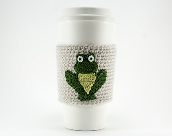 Coffee Cozy, Cup Cozy, Crocheted, Green Frog, Summer toad, Reusable Sleeve, natural linen colored sleeve, gift for her, gift for him