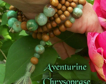 SALE CHRYSOPRASE SANDALWOOD Bracelet Buddhist Japa Mala Yoga Necklace Meditate Reiki Gemstone Crystal Beauty Boho Heart Chakra Zen Fashion