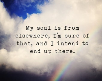 My Soul is From Elsewhere - Rumi art print, Rainbow Cloud, Large Wall Art,  Large Print , dreamy photography, sky, Quotes, Romantic