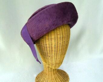 Vintage Ladies Hat Purple Fur Felt Upturned Brim Ribbon Tassels Susan Frank Original
