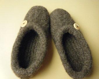 Brown Wool Felted Children's Slipper