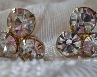 Vintage Earrings Clip Headlights Clear Rhinestones Triple Stones