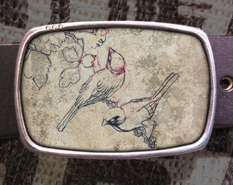 Sketch Birds Belt Buckle 532
