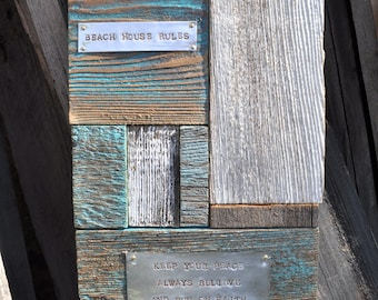 Beach house sign, coastal art, beach art, Aqua color, beach decor, beach house decor, beach house gift, starfish