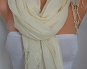 Cream Cotton Scarf,Spring Summer Shawl, Cowl, Bridesmaid Gift, Pareo Gift Ideas For Her, Women Fashion Accessories, Women Scarves