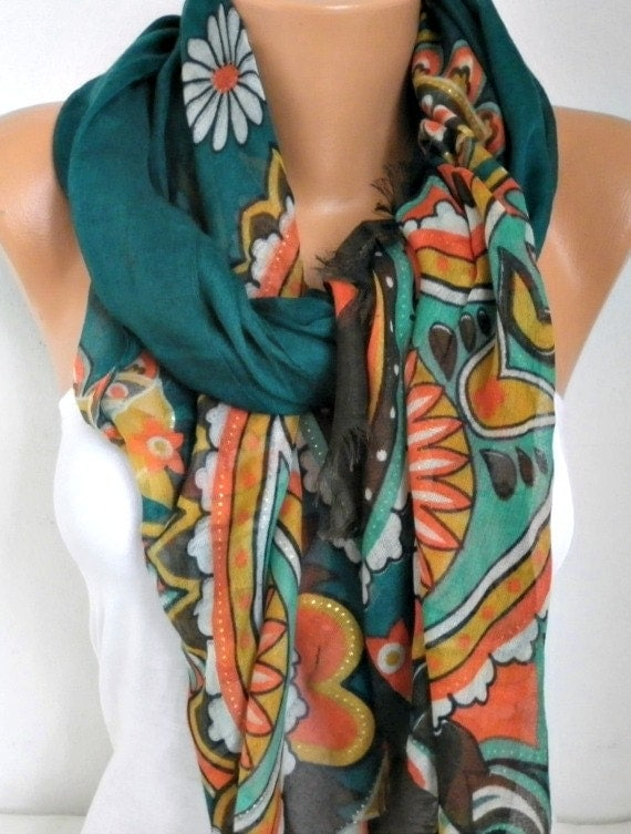 Teacher Gift Emerald Green Floral Cotton Scarf Shawl Summer Soft Cowl   Wrap Gift Ideas For Her Women Fashion Accessories Women Scarves