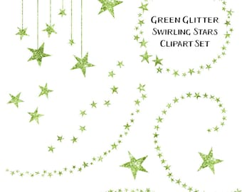 80% OFF SALE Sparkling Green Glitter Star Clipart, Swirling Stars Clip Art, Instant Download, Commercial Use Glitter Clipart