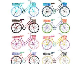 Digital Download Bike Clip Art Set, Watercolor Clipart Bikes, Instant Download, Commercial Use Images, Set 2