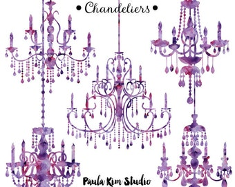 Purple chandelier etsy purple chandelier watercolor clipart silhouettes chandelier clip art wedding invitation clipart commercial use mozeypictures Images