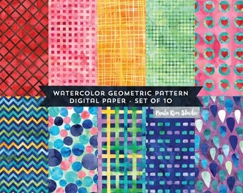 Bright Geometric Watercolor Digital Paper Image Instant Download, Background Textures, Watercolor Papers