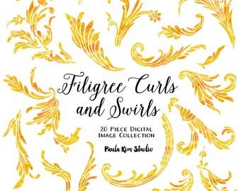 80% OFF SALE Yellow Filigree Swirls and Curls Flourish Clipart, Yellow Watercolor Clip Art, Wedding Invitation Clip Art, Commerical Use