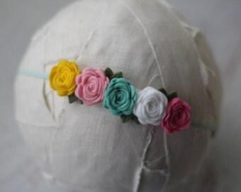 Rose Garland Headband in Lemon, Pink, Mint, White and Flamingo  - Newborn Baby to Adult - Wool Felt Flower Headband