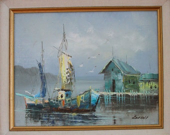 Original Oil Painting - Framed Seascape Boat Art Painting