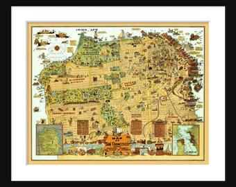 San Francisco Map - Street Map - Vintage Print Poster- Cartoon Map