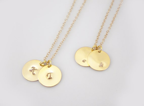 GOLD initial discs necklace, Liz Lemon's necklace from 30 Rock, initial tag