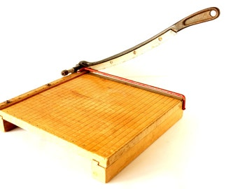 Vintage Paper Cutter Ingento No. 4 with Large Blade (c.1950s) - Industrial Home Decor, Man Cave, Cutting Board