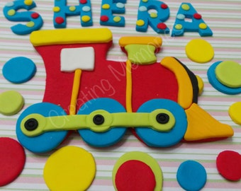 FONDANT TRAIN SET - Train Topper, Child's Name and Dots to decorate that special birthday cake Edible cake topper, Train, Red, blue , Yellow