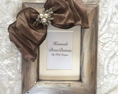 Wedding Frame Rustic Bow Jewel Neutral Pearl Diamond Bling Personalize