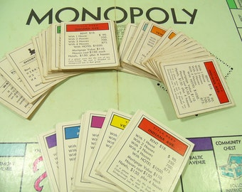 Parker Brothers Monopoly Property Title Cards Game Pieces 3 Complete Sets - Colorful Collection of 84 Paper Game Cards for Repurpose Upcycle