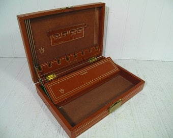 Vintage Saddle Tan Leather Jewelry Box with Gold Trim - Retro Men's Dresser Valet with Suede & Leather Labels Interior - Mad Men Organizer