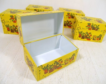 Funky Yellow South Western Herbs Plants Litho Metal Recipe 5 x 3 Box - Vintage Syndicate Mfg Co CrossStitch Look BoHo Hippie File Container