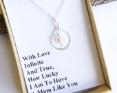 Sterling Silver Infinity Pearl Necklace with Mother's Gift Wording... Mother of the Bride Gift... Mother of the Groom