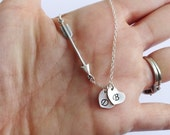Sterling Silver Arrow and Two Initials Necklace