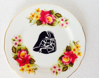 Star Wars - Pink and Yellow, Darth Vader plate - Wall Display - Gainsborough - China Tea Plate, Unique Gift - Plate Collage