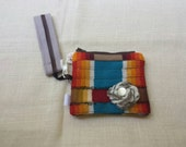 Wool Wristlet Oregon made zipper purse bag patchwork ready to ship Price Reduced