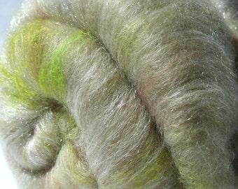 Batt Merino Tussah Silk Firestar Silk Rods Angelina Faux Angora 2.1 oz 60 g OOAK Ready to Ship International - Pressed Roses Coordinate