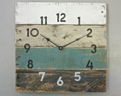 Pallet Wood Clock, Beach House style...ReCycled wood...distressed...teal OR Customize Your Clock