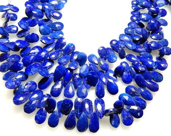 Lapis Lazuli Gemstone Faceted Briolette Pear Drops -5x7MM 4 Strands Blue  - Sold 8'' Strands -100%  Natural